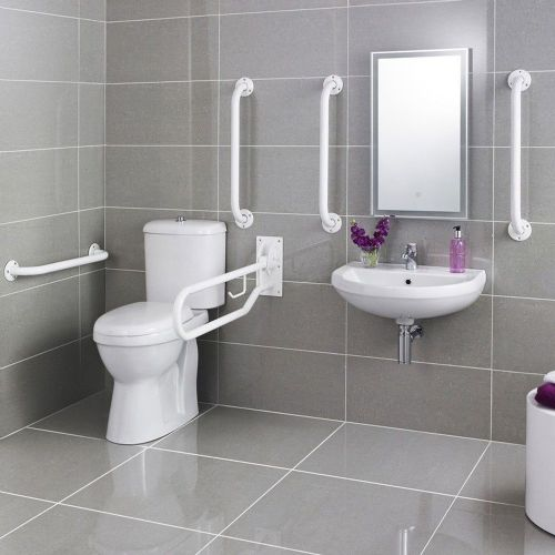 Doc M Pack - Toilet, Basin & Grab Rails - White